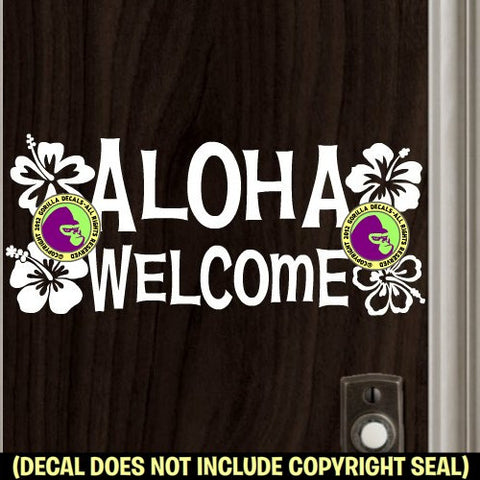 ALOHA WELCOME Hibiscus Vinyl Decal Sticker