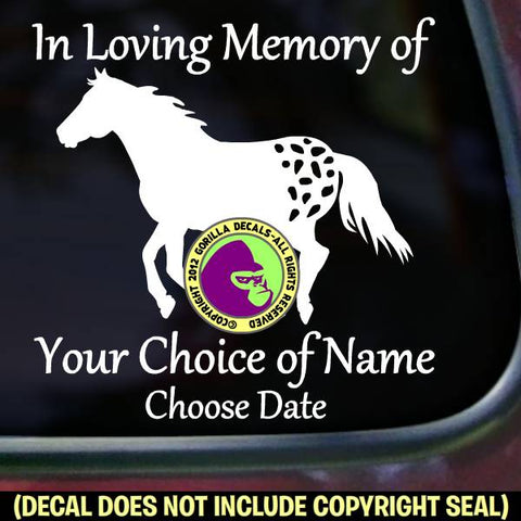 APPALOOSA Horse Memorial  - ADD YOUR CUSTOM WORDS - Vinyl Decal Sticker