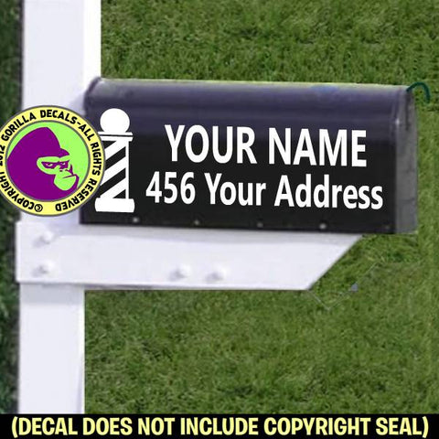 BARBER POLE MAILBOX Set - ADD YOUR NAME & ADDRESS Vinyl Decal Sticker