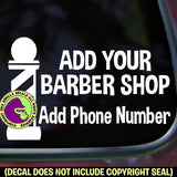 BARBER SHOP CUSTOM Pole - Add your Name & Phone- Vinyl Decal Sticker Sign