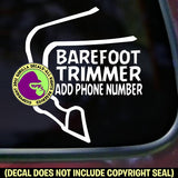 BAREFOOT TRIMMER - Add your phone number - Vinyl Decal Sticker