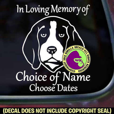 BEAGLE Memorial  - ADD YOUR CUSTOM WORDS - Vinyl Decal Sticker