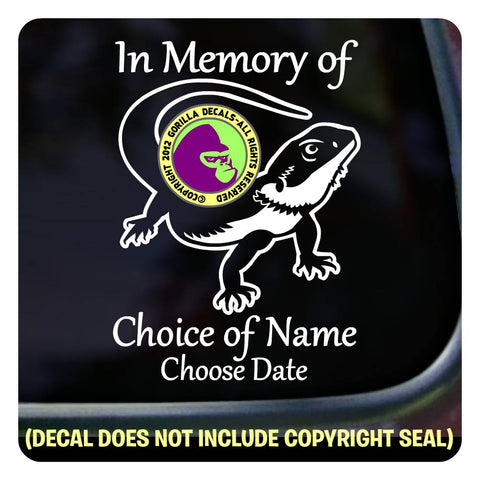 BEARDED DRAGON - Memorial  - ADD YOUR CUSTOM WORDS - Vinyl Decal Sticker