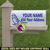 BUDGIE Custom Mailbox Set Parakeet Vinyl Decal Sticker