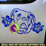 BULLDOG - Hibiscus - Dog Vinyl Decal Sticker