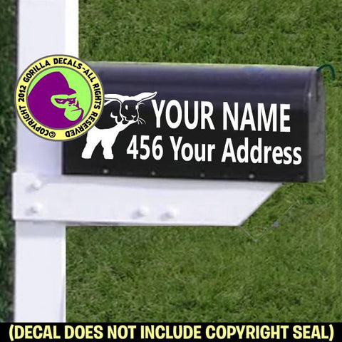 Bunny Jumping - MAILBOX Set - ADD YOUR NAME & ADDRESS Vinyl Decal Sticker