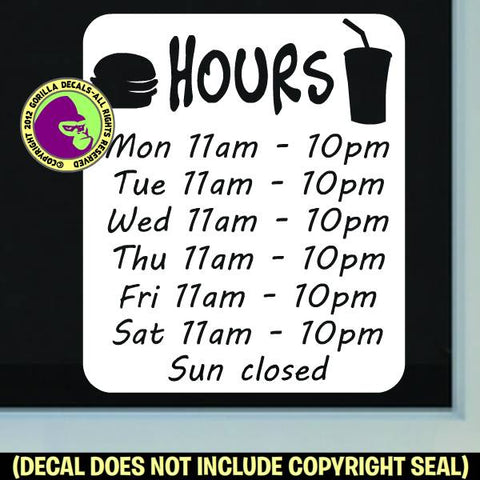 BURGER RESTAURANT HOURS - Custom Text - Vinyl Decal Sticker