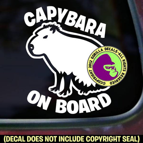 CAPYBARA ON BOARD Pet Capy Love Rodent Vinyl Decal Sticker