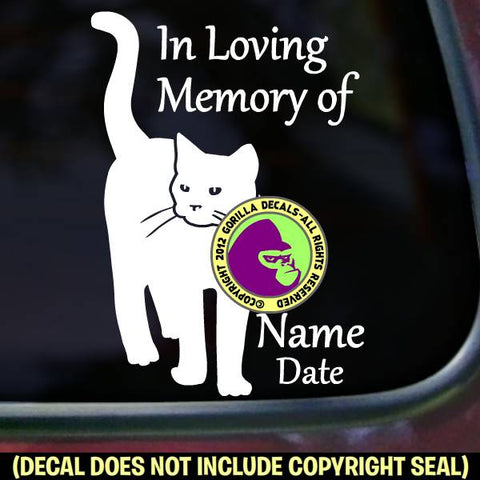 CAT Memorial  - ADD YOUR CUSTOM WORDS - Vinyl Decal Sticker
