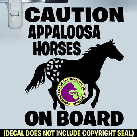 CAUTION APPALOOSA HORSES ON BOARD #2 Trailer Vinyl Decal Sticker