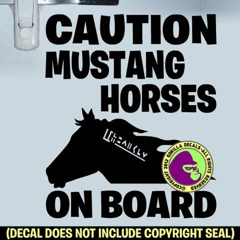 CAUTION MUSTANG HORSES ON BOARD #2 Trailer Vinyl Decal Sticker