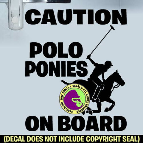 CAUTION POLO PONIES ON BOARD Trailer Vinyl Decal Sticker