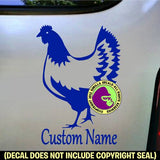 CHICKEN - ADD YOUR CUSTOM WORDS - Vinyl Decal Sticker