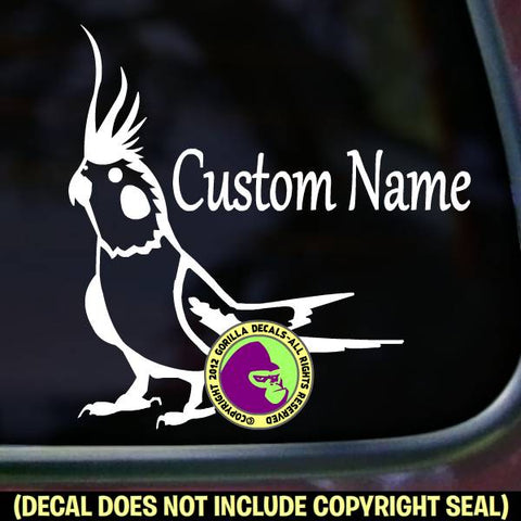 Cockatiel - ADD CUSTOM TEXT - Vinyl Decal Sticker
