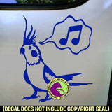 SINGING COCKATIEL Vinyl Decal Sticker
