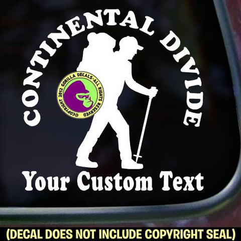 Continental Divide Trail CUSTOM WORDS Vinyl Decal Sticker