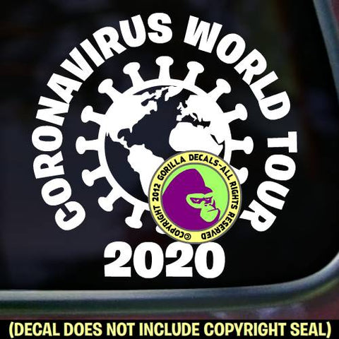 CORONAVIRUS WORLD TOUR 2020  - Covid-19 Corona Virus - Vinyl Decal Sticker