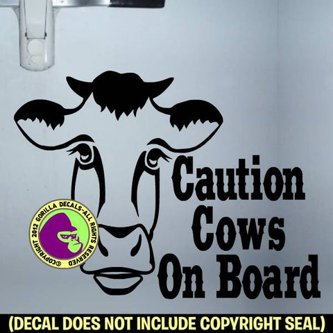 COWS ON BOARD Trailer Vinyl Decal Sticker