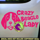 BEAGLE - Crazy Lady - Dog Vinyl Decal Sticker