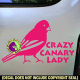 CRAZY CANARY LADY Bird Vinyl Decal Sticker