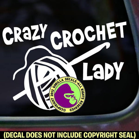 CRAZY CROCHET LADY Funny Vinyl Decal Sticker