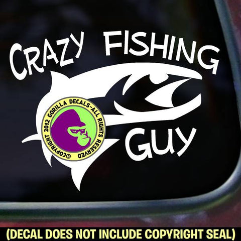 CRAZY FISHING GUY Funny Vinyl Decal Sticker
