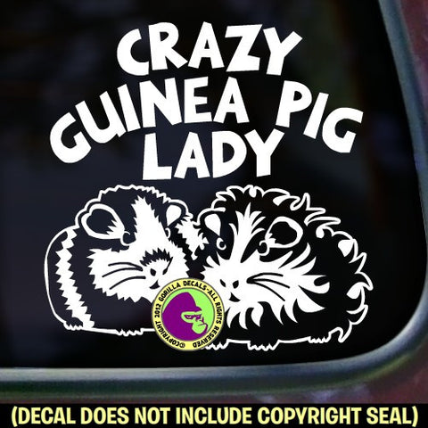 CRAZY GUINEA PIG LADY Vinyl Decal Sticker