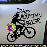 CRAZY MOUNTAIN BIKER FEMALE Vinyl Decal Sticker