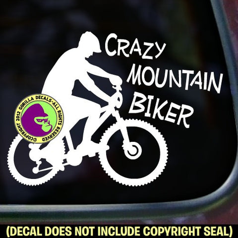 CRAZY MOUNTAIN BIKER MALE Vinyl Decal Sticker