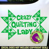 CRAZY QUILTING LADY Quilt Vinyl Decal Sticker