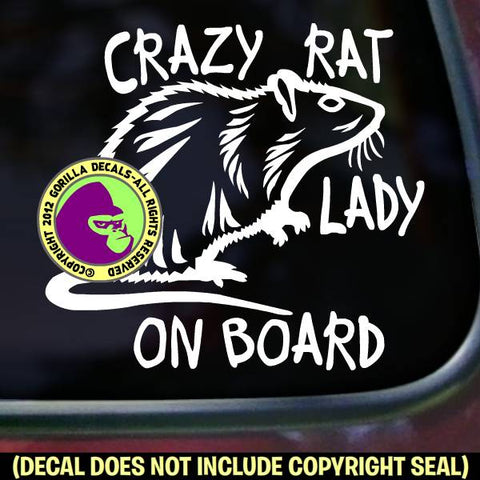 CRAZY RAT LADY - ON BOARD - Pet Rats Vinyl Decal Sticker