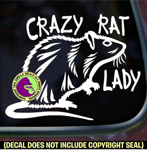 CRAZY RAT LADY Pet Rats Vinyl Decal Sticker