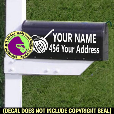 Crochet MAILBOX Set - ADD YOUR NAME & ADDRESS Vinyl Decal Sticker