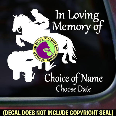 Cross Country Horse Rider - Memorial  - ADD YOUR CUSTOM WORDS - Vinyl Decal Sticker