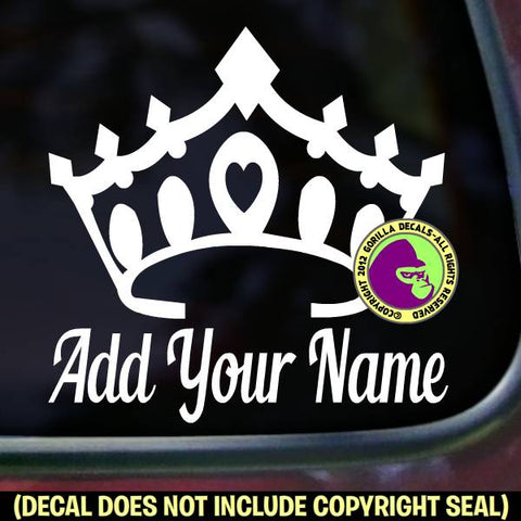 CROWN - Add your CUSTOM NAME - Vinyl Decal Sticker