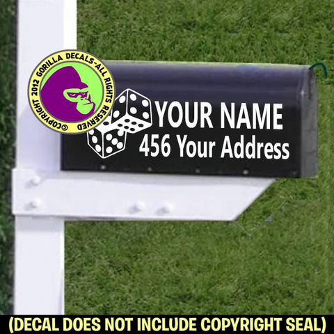 Dice MAILBOX Set - ADD YOUR NAME & ADDRESS Vinyl Decal Sticker