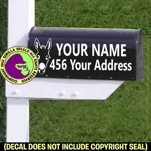 DONKEY Burro Farm MAILBOX Set - ADD YOUR NAME & ADDRESS Vinyl Decal Sticker