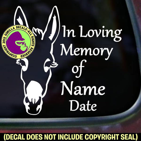 DONKEY Memorial  - ADD YOUR CUSTOM WORDS - Vinyl Decal Sticker