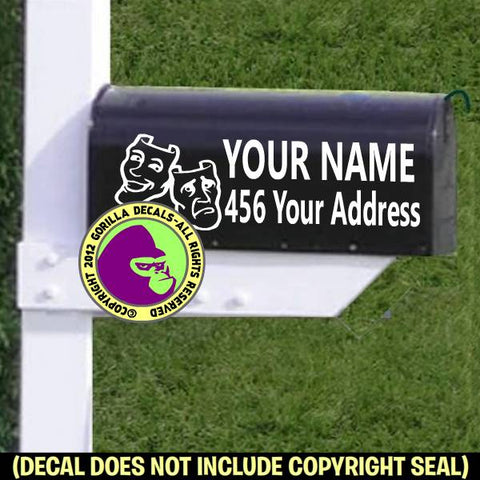 Thespian Drama Masks MAILBOX Set - ADD YOUR NAME & ADDRESS Vinyl Decal Sticker