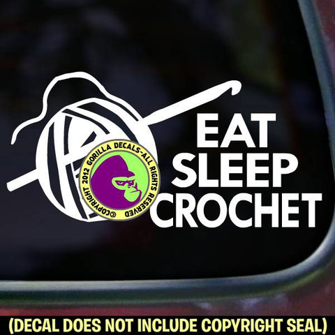 EAT SLEEP CROCHET Hook Vinyl Decal Sticker