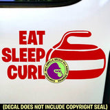EAT SLEEP CURL Curling Stone Sport Game Player Vinyl Decal Sticker