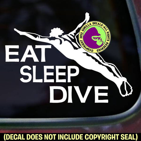 EAT SLEEP DIVE Male Springboard Diver Vinyl Decal Sticker