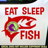 EAT SLEEP FISH Fishing Vinyl Decal Sticker
