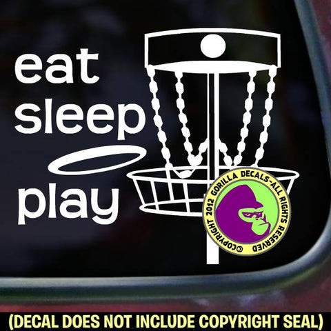 EAT SLEEP PLAY DISC GOLF Frisbee Game Vinyl Decal Sticker