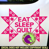 EAT SLEEP QUILT Vinyl Decal Sticker