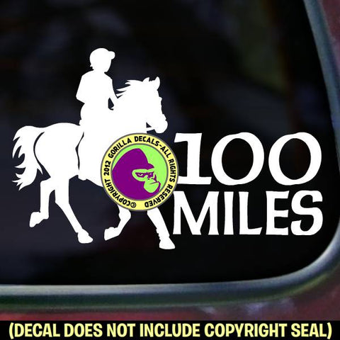 ENDURANCE 100 MILES Riding Horse Rider Distance Vinyl Decal Sticker