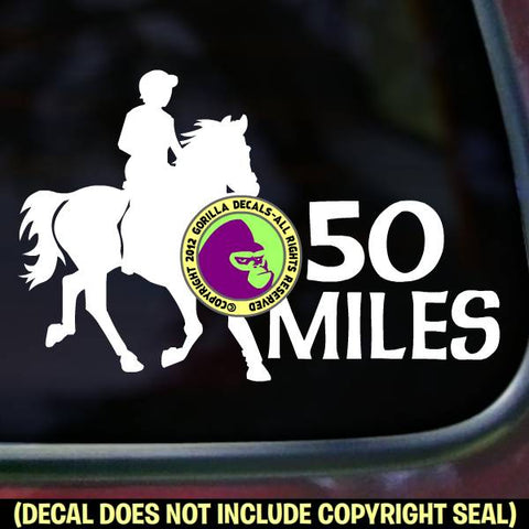 ENDURANCE 50 MILES Riding Horse Rider Distance Vinyl Decal Sticker