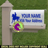Endurance Riding Horse Rider MAILBOX Set - ADD YOUR NAME & ADDRESS Vinyl Decal Sticker