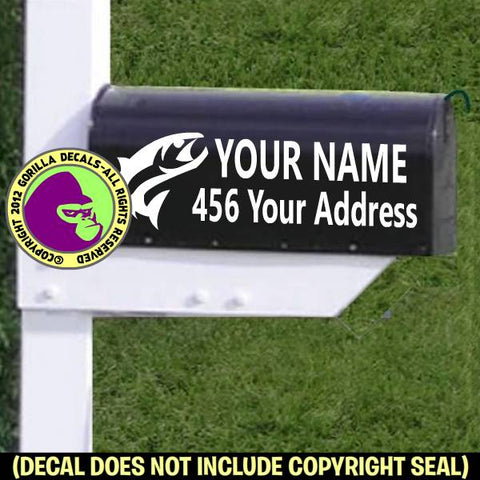Fishing MAILBOX Set - ADD YOUR NAME & ADDRESS Vinyl Decal Sticker