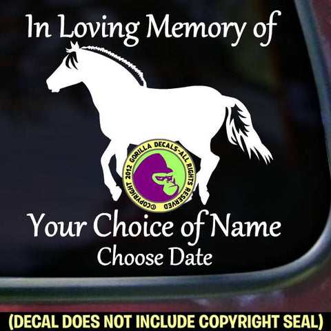 FJORD Horse Memorial  - ADD YOUR CUSTOM WORDS - Vinyl Decal Sticker